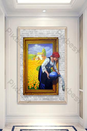 modern photo frame sunflower flower sea farmers pour water porch decorative painting Decors & 3D Models Template PSD