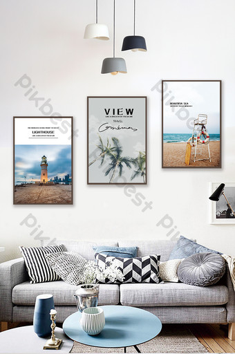 Jane Ou personalized custom seaside scenery living room hotel bedroom decoration painting Decors & 3D Models Template PSD