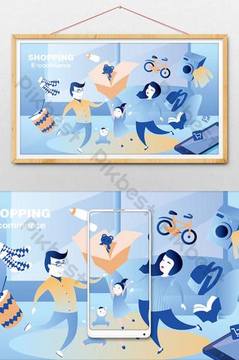 ilustración de compras en línea familiar de estilo de vida plano Ilustración Modelo AI