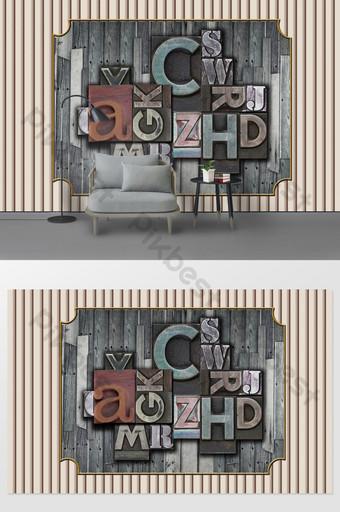 現代簡約木板英文字母裝飾畫背景牆 裝飾·模型 模板 PSD