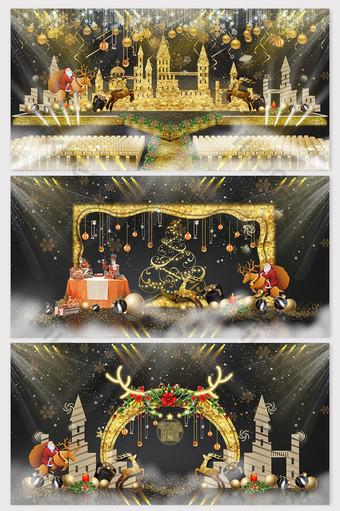 三件套的美麗和夢幻的年底聖誕節舞台效果圖 裝飾·模型 模板 PSD