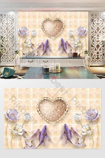 joyería hermoso amor diamante en relieve lotus guppies tv fondo pared Decoración y modelo Modelo PSD