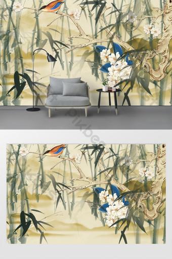 pared floral simple del fondo del hogar y de la joyería Decoración y modelo Modelo PSD