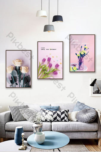 簡歐創意植物花卉客廳酒店臥室裝飾畫 裝飾·模型 模板 PSD