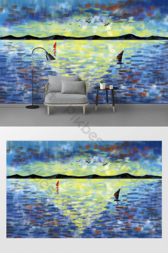 modern drawing sea sunrise abstract oil painting background wall Decors & 3D Models Template PSD