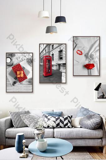 جيان أوو الإبداعية أبيض وأسود المناظر الطبيعية غرفة المعيشة غرفة نوم فندق الديكور اللوحة الديكور والنموذج قالب PSD