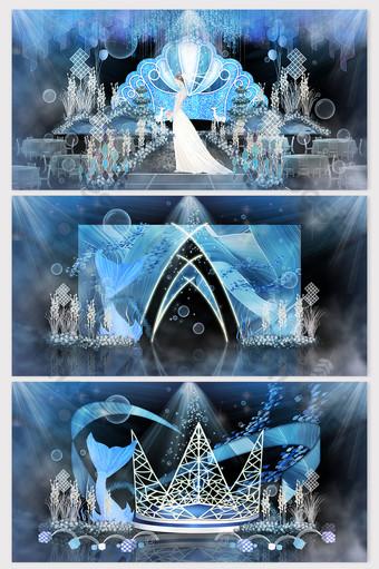 Light luxury blue ocean series wedding renderings Decors & 3D Models Template PSD