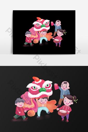 elemen reka bentuk tarian singa kartun Elemen Grafik Templat PSD