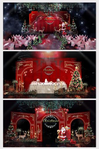 representaciones de tema de navidad rojo retro de lujo ligero de estilo europeo simple Decoración y modelo Modelo PSD