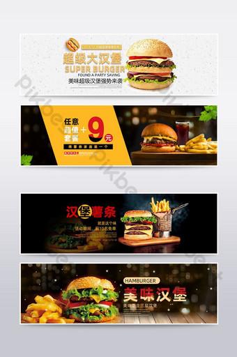 poster hitam putih makanan cepat saji burger goreng cola e commerce E-commerce Templat PSD