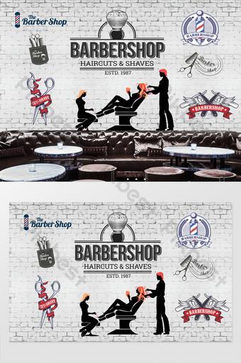 الأوروبية والأمريكية النمط الصناعي صالون حلاقة الشعر خلفية الجدار الديكور والنموذج قالب PSD