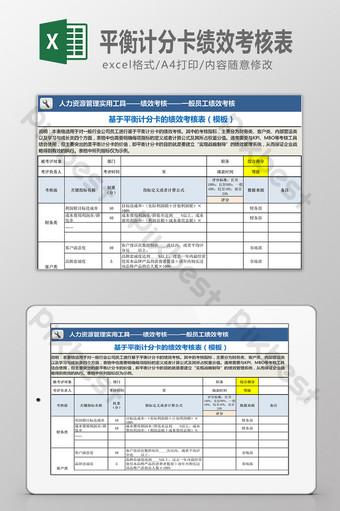 Formulaire d'évaluation du rendement basé sur un tableau de bord équilibré Excel模板 Modèle XLS