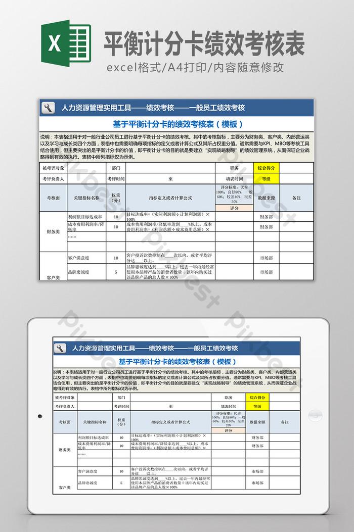 نموذج تقييم الأداء بناء على بطاقة الأداء المتوازن اكسل قوالب Xls تحميل مجاني Pikbest