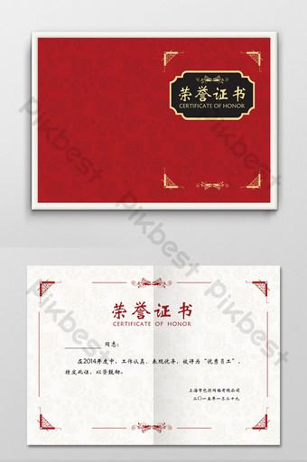 ilustración de plantilla de diseño de certificado de honor personal corporativo de empresa roja Modelo PSD
