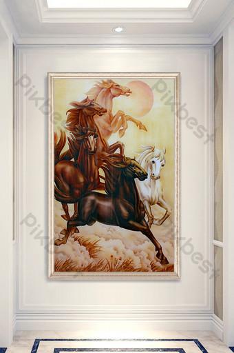 النمط الصيني النفط الطلاء الرقم الحصان الراكض لنجاح الديكور الشرفة الديكور والنموذج قالب PSD