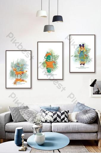 Phong cách Bắc Âu bằng tay màu phấn màu thực vật động vật chim cánh cụt phòng khách sạn bức tranh trang trí Trang trí và mô hình Bản mẫu PSD