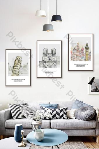 جين أوو مرسومة باليد المعمارية غرفة المعيشة غرفة نوم فندق الديكور اللوحة الديكور والنموذج قالب PSD