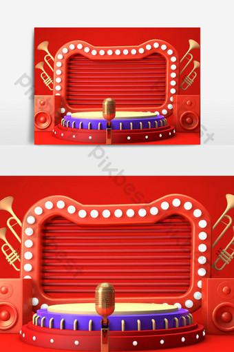 c4d天貓雙旦新年商品節貓頭舞台場景模型 裝飾·模型 模板 C4D