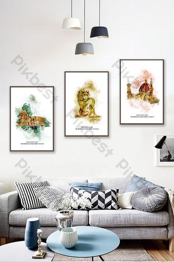 جين الأوروبي لون فاتح رسمت باليد المشهد المعماري غرفة المعيشة غرفة نوم فندق الديكور اللوحة الديكور والنموذج قالب PSD