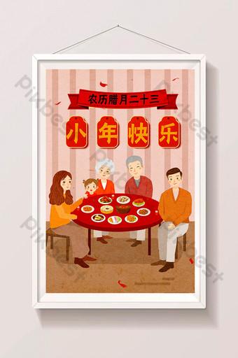 año pequeño comida cena familiar rojo festivo lunar duodécimo mes dibujado a mano ilustración Ilustración Modelo PSD