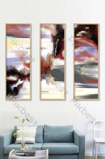 pintado a mano negro rojo azul abstracto pintura al óleo tríptico decorativo Decoración y modelo Modelo PSD