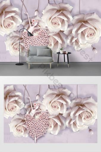 3d創意粉紅色玫瑰布什舞者三維立體浮雕背景牆 裝飾·模型 模板 PSD