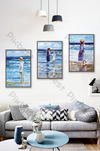 Nordic art creative seaside oil painting sea blue decorative Decors & 3D Models Template TIF