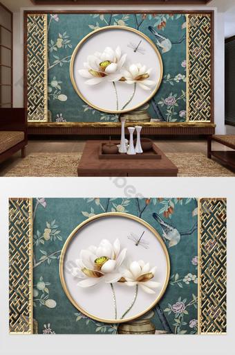 новый китайский классический металлический полый цветок окно лотос рельеф фон стена Украшение и модель шаблон PSD