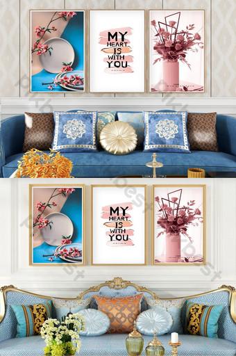 簡歐藝術花卉植物客廳店鋪臥室裝飾畫 裝飾·模型 模板 PSD