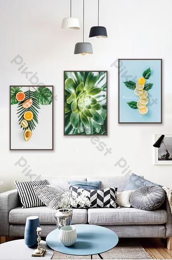 簡歐清新藝術植物客廳臥室酒店裝飾畫 裝飾·模型 模板 PSD