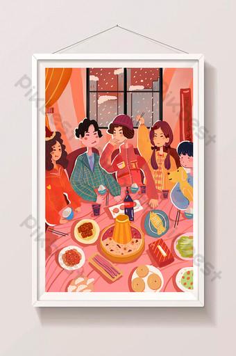 pequeño rojo festivo reunión familiar comida cena dibujos animados hermosa ilustración Ilustración Modelo PSD
