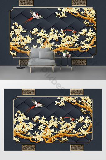 الحديثة وبسيطة 3d ثلاثي الأبعاد زهرة شجرة الحديد الديكور خلفية الجدار الديكور والنموذج قالب PSD