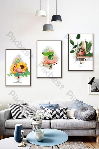 北歐風格手繪植物火烈鳥客廳臥室裝飾畫 裝飾·模型 模板 PSD