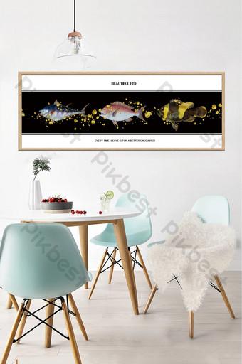 簡歐創意手繪魚金箔客廳臥室床頭裝飾畫 裝飾·模型 模板 PSD