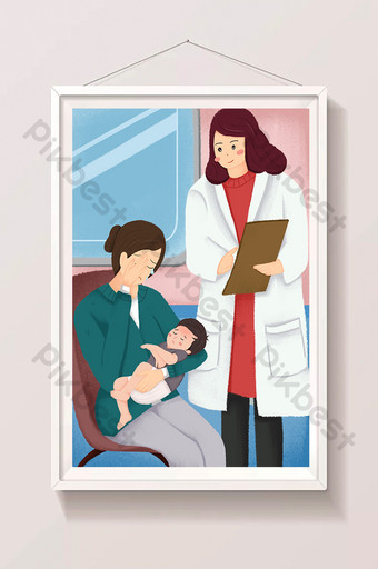 Hospital pediatrician mother child see a doctor illustration Illustration Template PSD