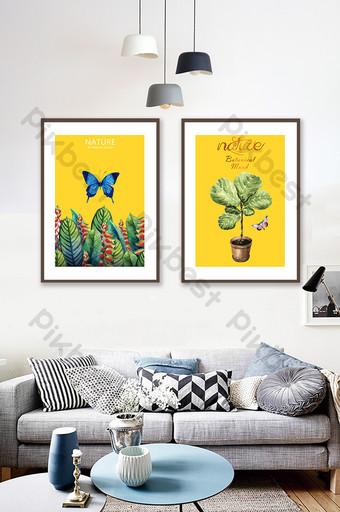 nórdico simple estilo moderno fondo de color claro planta de mariposa en maceta pintura decorativa Decoración y modelo Modelo TIF