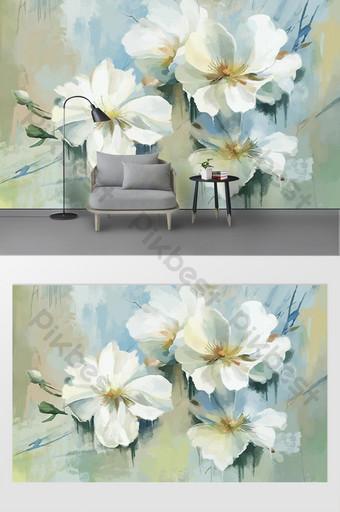 mural dinding latar belakang bunga yang dilukis dengan tangan modern minimalis Dekorasi dan model Templat PSD
