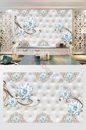 3d لينة حقيبة مجوهرات زهرة خلفية الجدار الديكور والنموذج قالب PSD