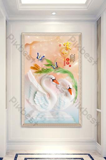 النمط الصيني 3d المنزل والأثرياء اليشم نحت اللوحة الزخرفية فراشة البجعة الشرفة الديكور والنموذج قالب PSD