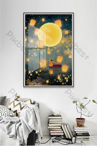 رسمت باليد ليلة جميلة الكريستال المغناطيسي مشهد غرفة المعيشة غرفة نوم فندق الديكور اللوحة الديكور والنموذج قالب PSD