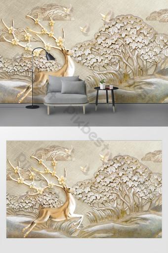 الحديث 3d ثلاثي الأبعاد الإغاثة شجرة الطيور الذهبي الغزلان التلفزيون خلفية الجدار الديكور والنموذج قالب PSD