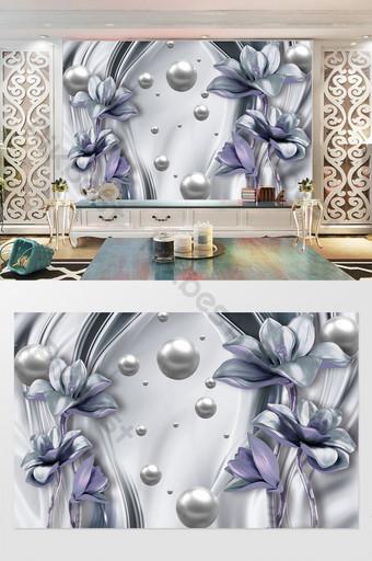 3d والمجوهرات الفاخرة زهرة جميلة خلفية الجدار الديكور والنموذج قالب PSD