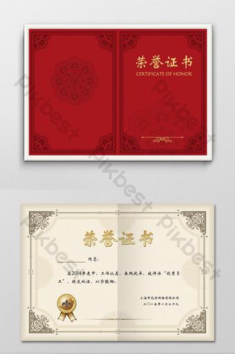 imagen de plantilla de diseño de certificado de honor personal rojo corporativo Modelo PSD