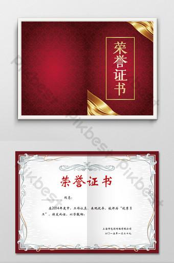 imagen de plantilla de diseño de estilo de certificado de honor personal corporativo de empresa roja Modelo PSD