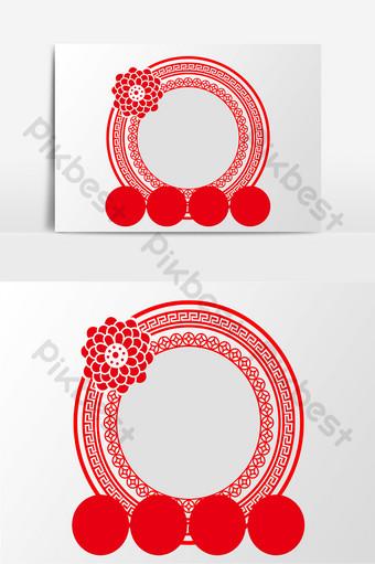 diseño de elemento de borde redondo de estilo chino de vector creativo rojo Elementos graficos Modelo PSD