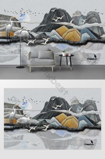 Peinture à l'huile moderne montagnes et oiseaux conception artistique paysage mur de fond TV Décoration et modèle Modèle PSD