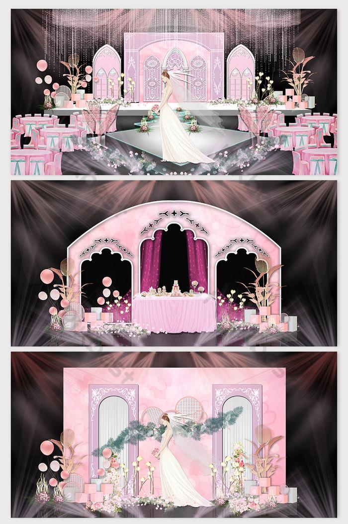 Pink Jane European Flower Arch KT Plate Model Wedding Effect
