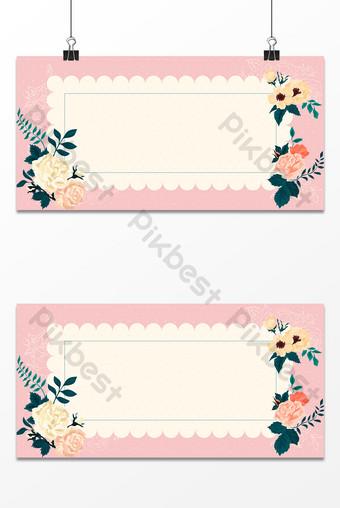 fondo de marco de fotos de estilo brillante de flores pintadas a mano claras literarias y artísticas Fondos Modelo PSD