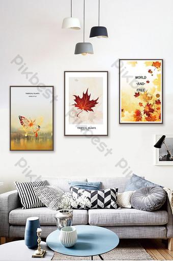 北歐風格創意植物葉子客廳臥室裝飾畫 裝飾·模型 模板 PSD
