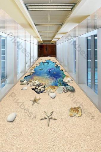 شاطئ قذيفة المحيط العالم 3d اللوحة الكلمة الديكور والنموذج قالب TIF